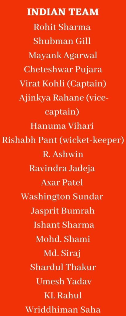 indian team squad for WTC Final
